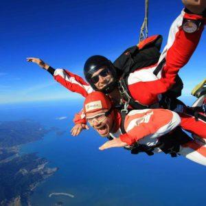 Sky diving in the Abel Tasman