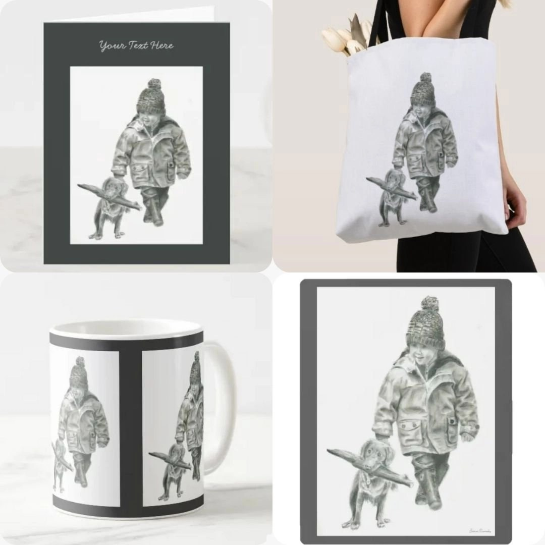 Little Boy and Dog Products Barnaby Studio Art by Jessica Barnaby, Barnaby Studio, Jessica Barnaby