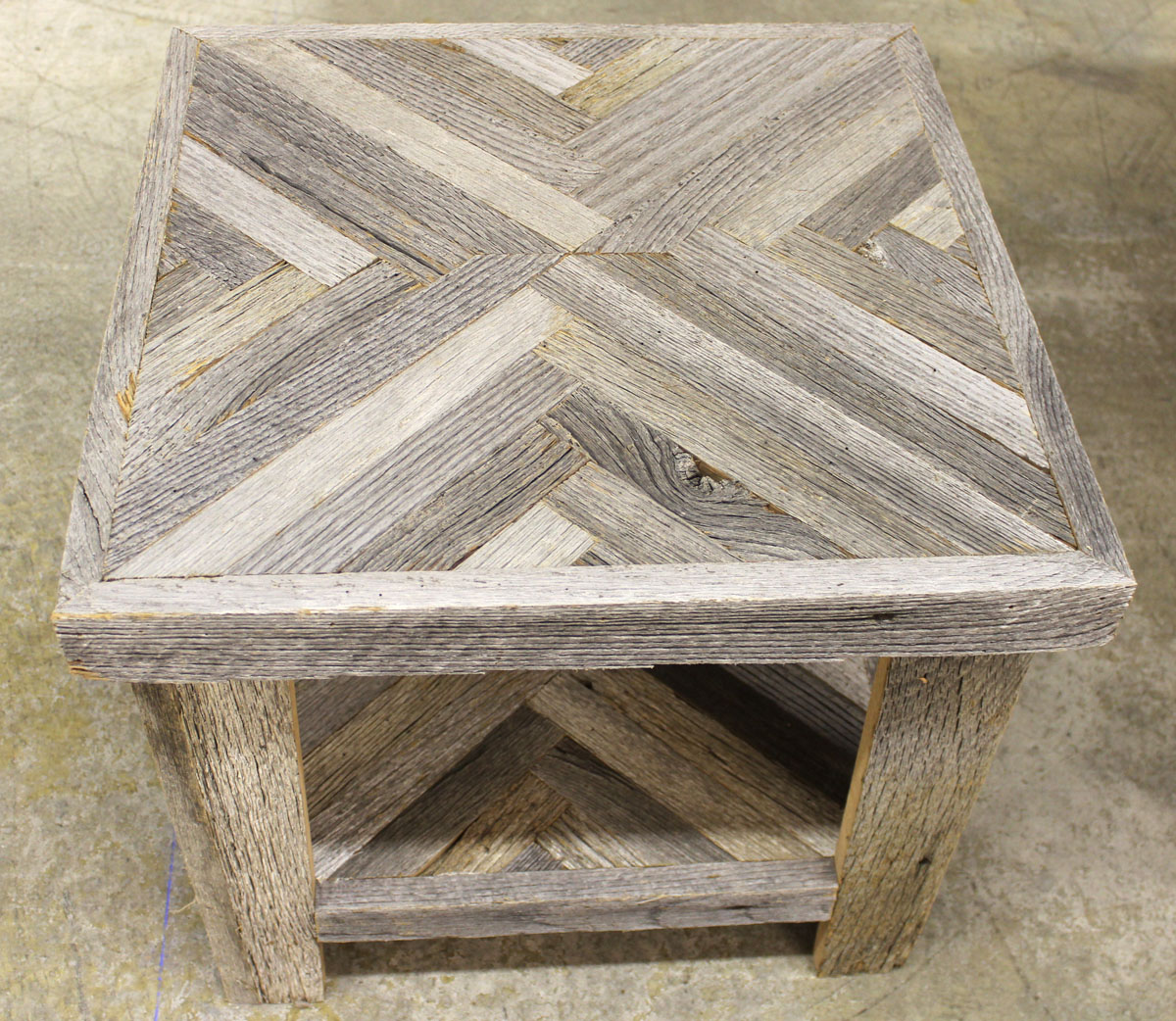 Barnwood mirror bench and herringbone accent table  Barn
