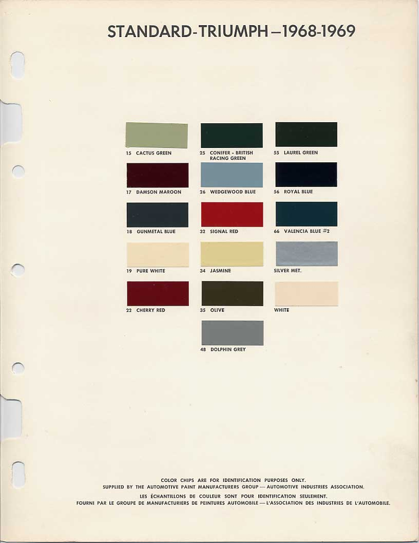 medium resolution of triumph color chart
