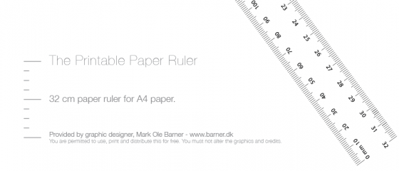 Print din egen lineal eller målebånd - free printable paper ruler cm mm a4 download