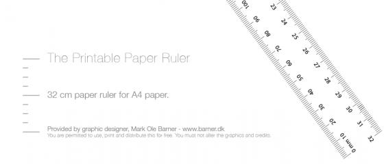 Print din egen lineal eller målebånd - free printable paper ruler cm mm a4 download