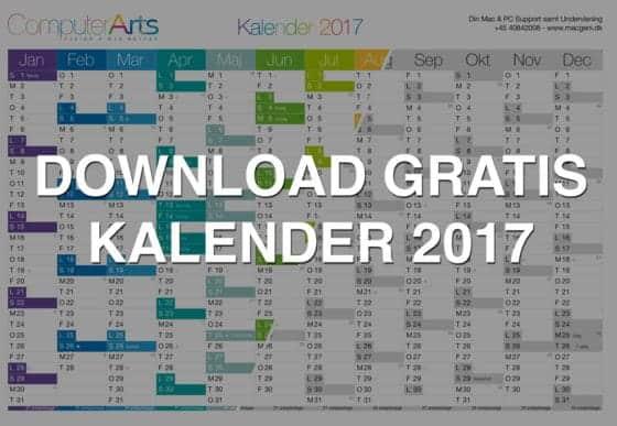 download gratis kalender 2017 print selv årsoversigt