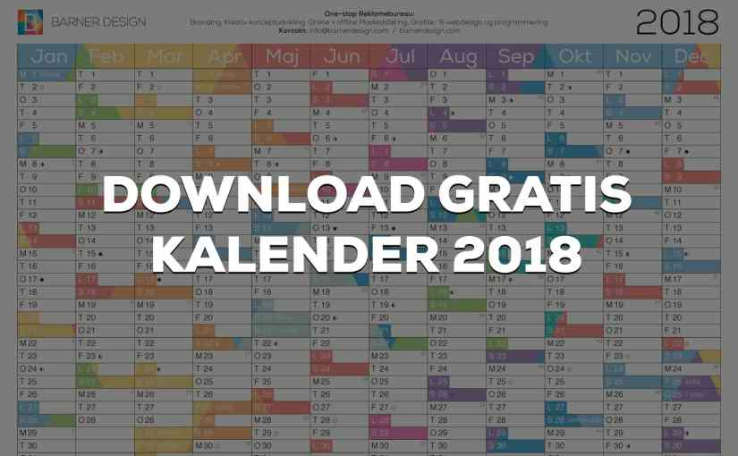 Download Gratis Kalender 2018 pdf – Print selv A4 og A3 format