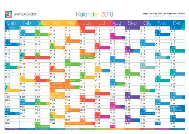 Download Gratis Kalender 2019 pdf - Print selv A4 og A3 format - BarnerDesign farver version flot
