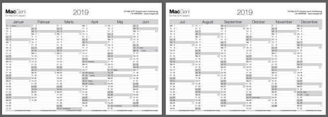 6-måneders simpel Gratis MacGeni Kalender 2019 årsoversigt pdf med ugernumer helligdage 2-sidet 12 måneder. Print-selv i A4 eller A3 grå design