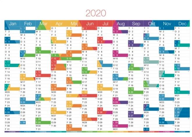 Download Gratis Kalender 2020 pdf - Print selv A4 og A3 format - BarnerDesign farver version flot