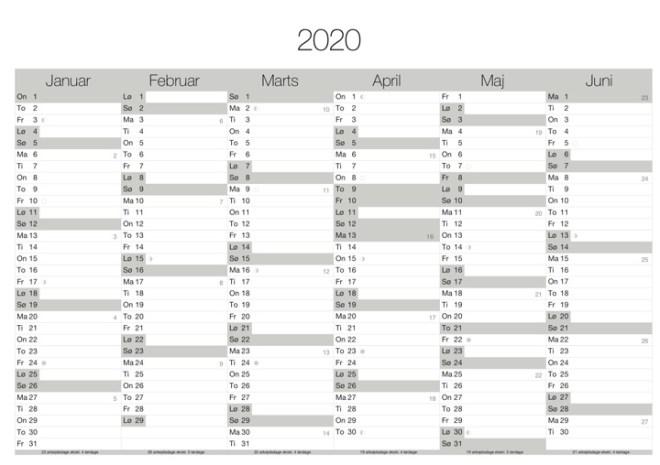 download gratis kalender 2020 print selv årsoversigt grå design