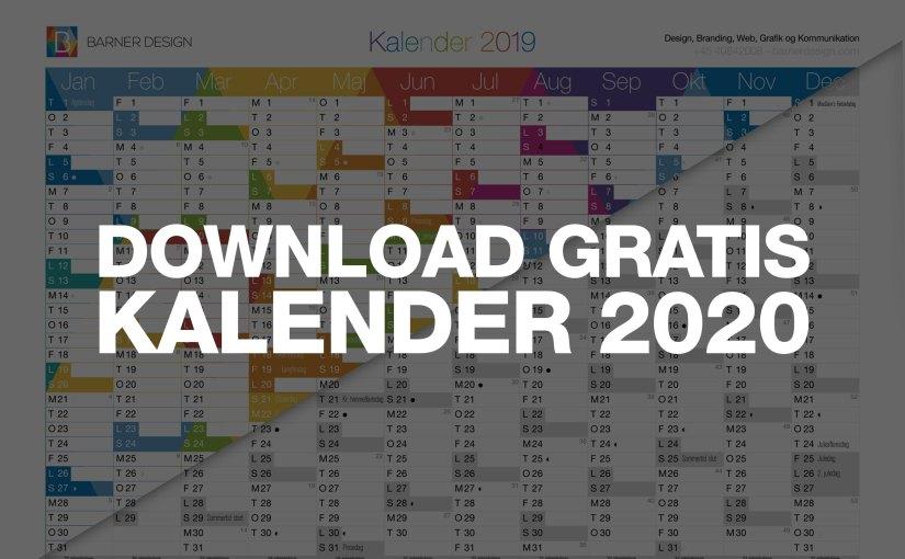 Download Gratis Kalender 2020 – Print selv PDF, i A4 eller A3 størrelse