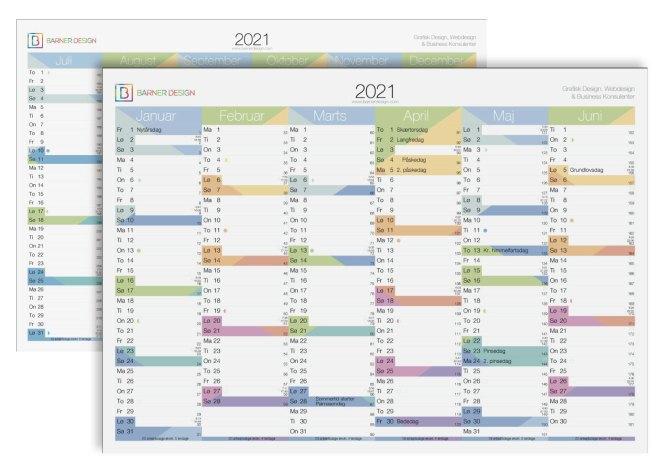 farver 2021 download gratis kalender 2021 print selv årsoversigt 2 sidet 6 måneder mdr