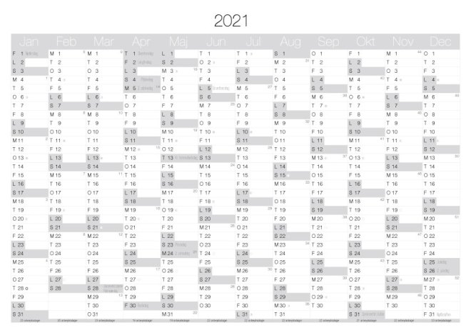 kalender Print ud til bordet i hjemmet eller kontoret