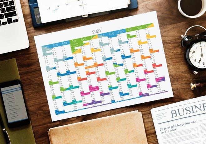 skrivebord Køb design Kalender 2021 pdf - Print selv A4 og A3 format farver