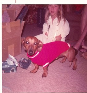 Susie and her dog Brownie Christmas 1971