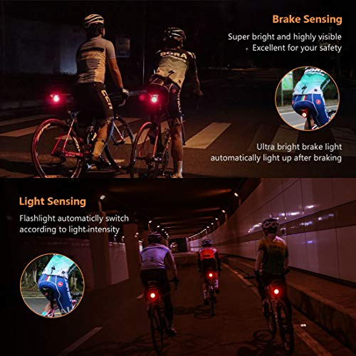 Rechargeable Bicycle Tail Light Cycling Safety Warning Usb 5 Led Rear Lamp Kits