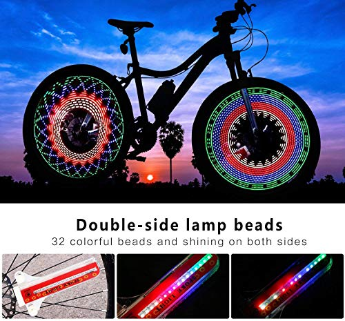 2 PCS Bicycle Wheels Lights Waterproof Bike Rim Lights//Spoke Lights With 32-LED and 32pcs Changes Patterns for MTB Wheel Tire,For Bicycle tires over 20 inches