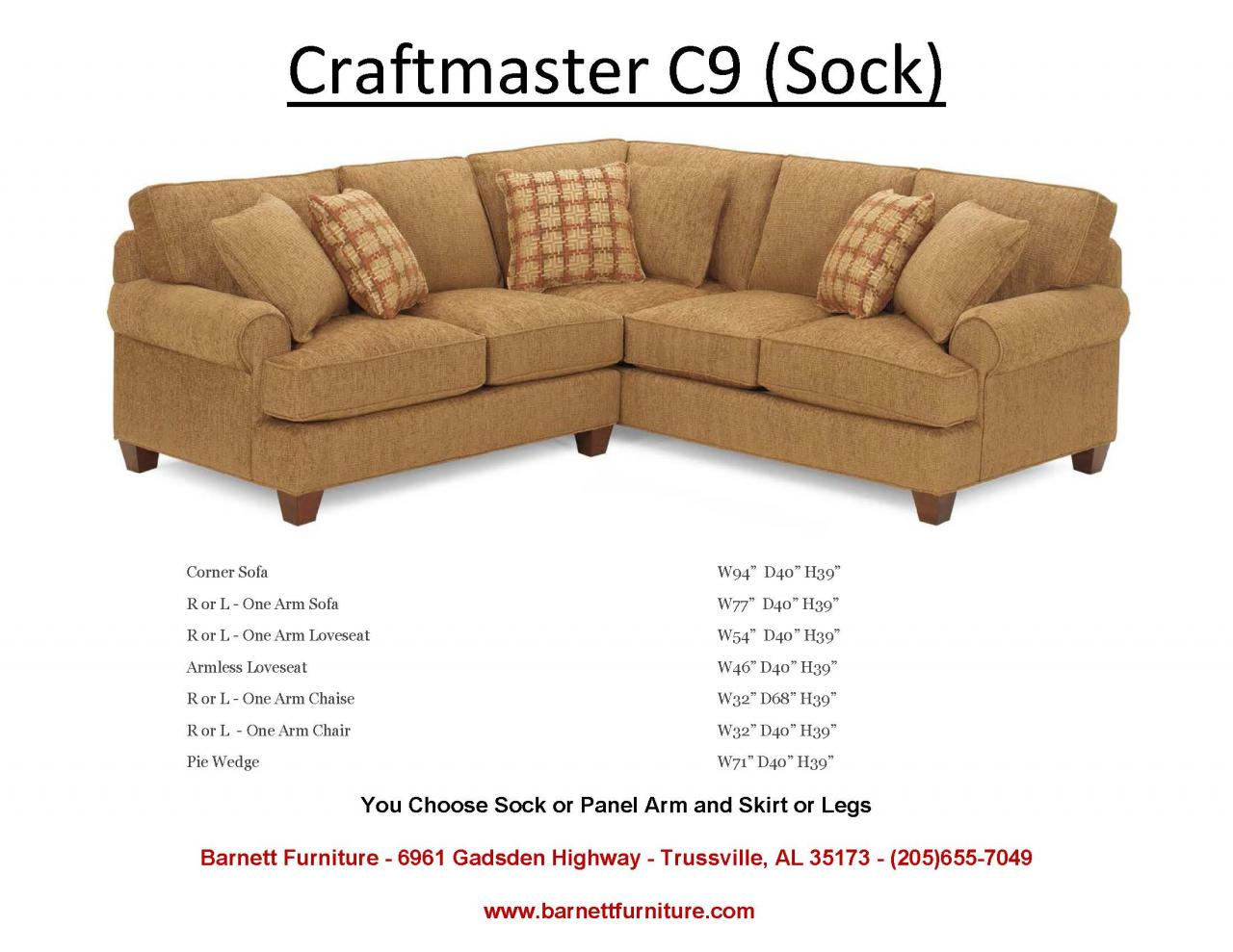 Craftmaster C9 Sectional with Sock Arm Turned Leg