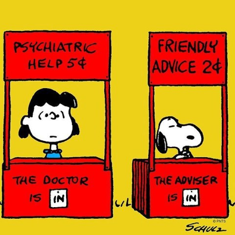 Lucy and Snoopy in advice booths