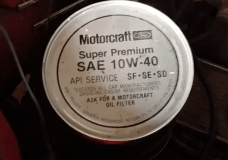 Oil still in can from Ford Motorcraft still unopened