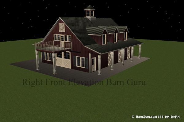 Horse Barn Plans With Living Quarters 5 Stalls 3 Bedrooms