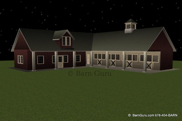 New shed row Horse Barn With Living Quarters