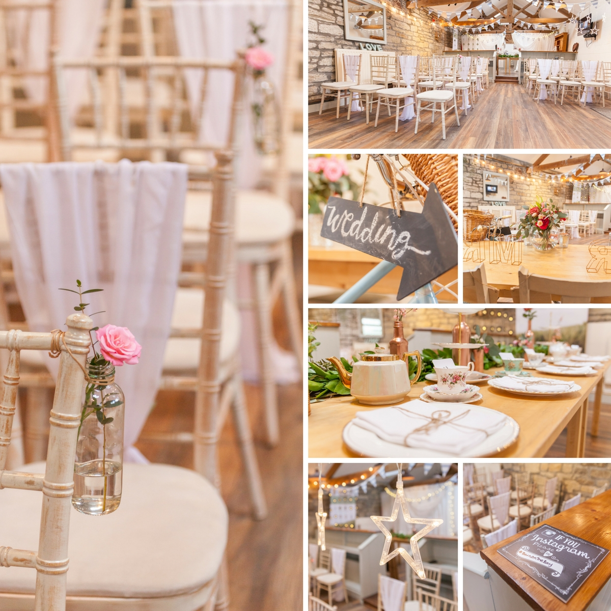 Rustic wedding venue styling