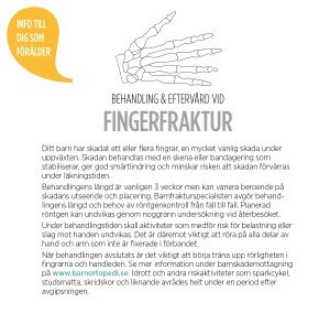 fingerfraktur barnfraktur bryta fingret behandling gips barnortopediskt centrum BOC specialister eftervård