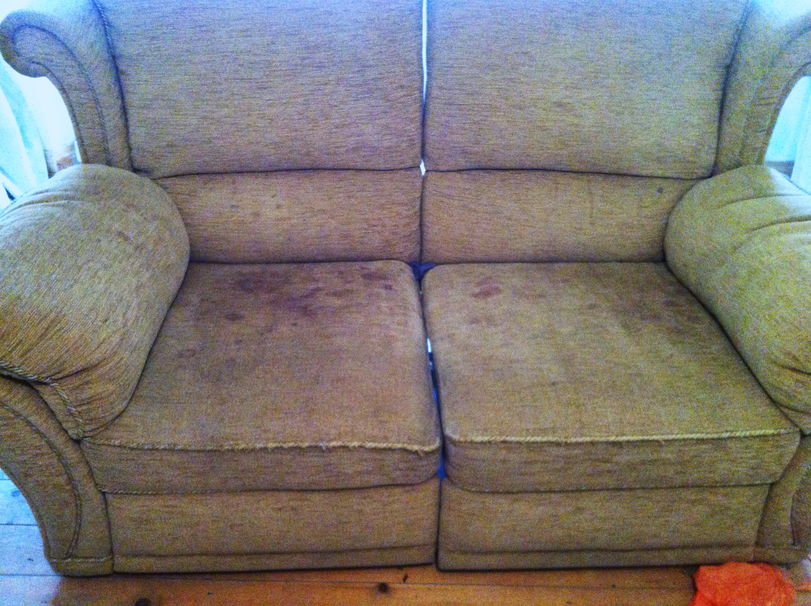 how to clean stains on fabric sofa broyhill and loveseat remove blood from cloth baci living room