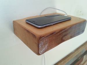Charging Station Floating Shelf / Reclaimed Floating Shelves / Cell Phone Station Rustic Shelf / Reclaimed Barn Wood Bedside Phone Shelving