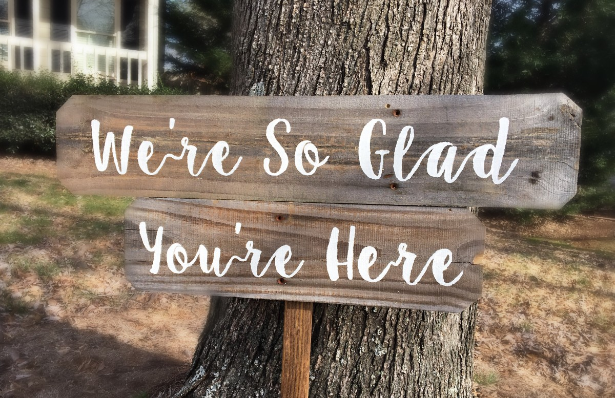 We Re So Glad You Re Here Barnwood Rust Designs
