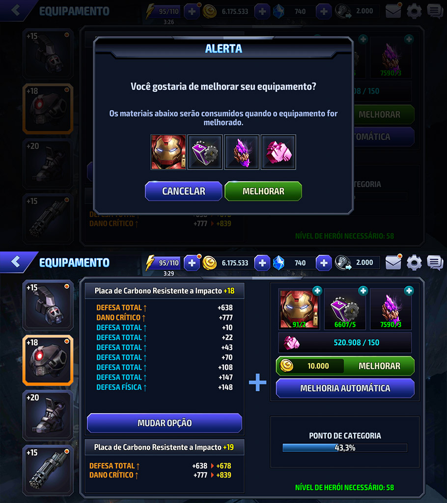 Upgrade depois do +15 Marvel Future Fight 2.2