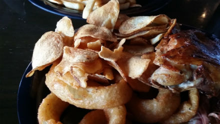 My fave onion rings and their house made potato chips