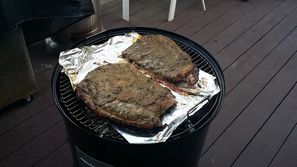 Grilling away