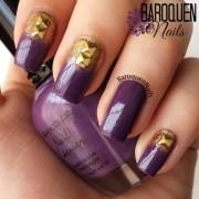 purple and gold nail design baroquen