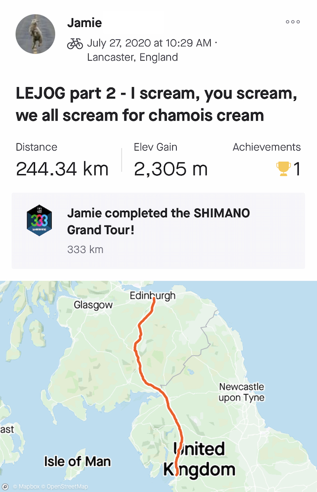 "Jamie's LEJOG Day 2: ""I scream. You scream. We all scream for chamois-cream."""