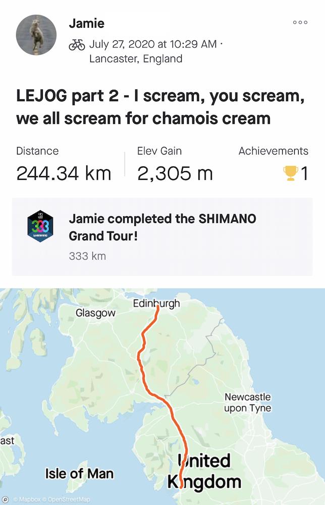 "Jamie's LEJOG Day 2: ""I scream. You scream. We all scream for chamois-cream."""