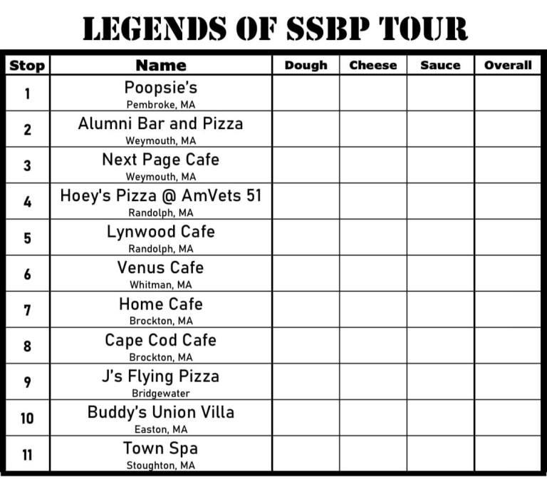 South Shore Bar Pizza Legends Tour Scorecard