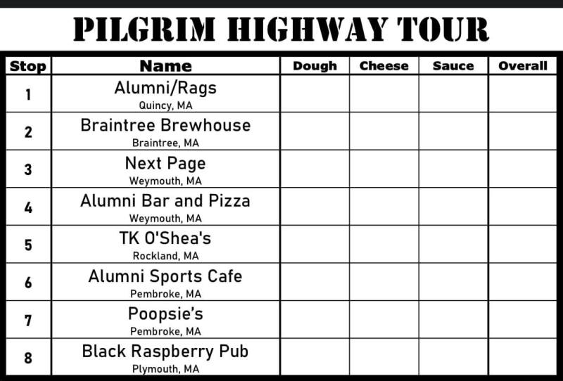 South Shore Bar Pizza Pilgrim Highway Tour Scorecard