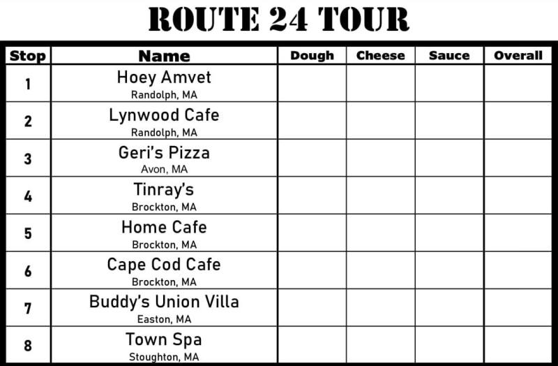 South Shore Bar Pizza Route 24 Tour Scorecard