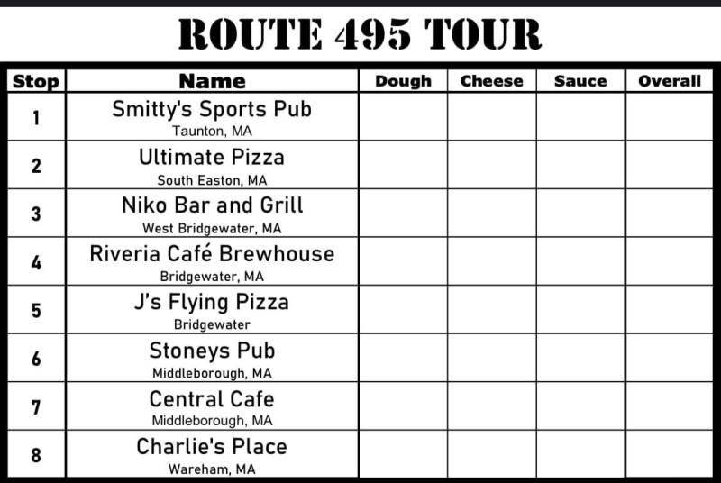 South Shore Bar Pizza Route 495 Tour Scorecard
