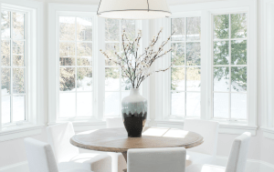 dining room table with vase.