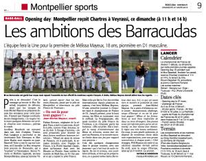 Article Midilibre baseball 27:03:2016