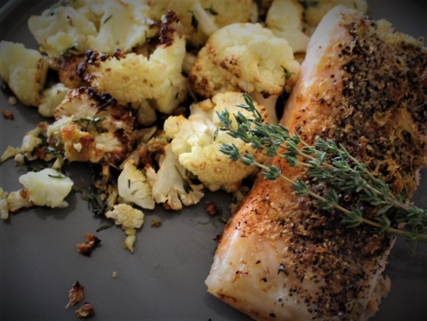 Whole30 Lemon Pepper Salmon w/ Lemon Thyme Roasted Cauliflower