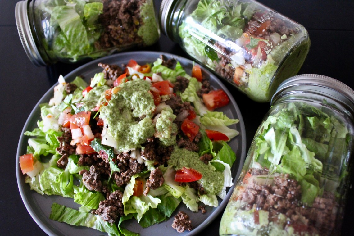 Writing - Whole30 Taco Mason Jar Salad with Green Goddess Dressing