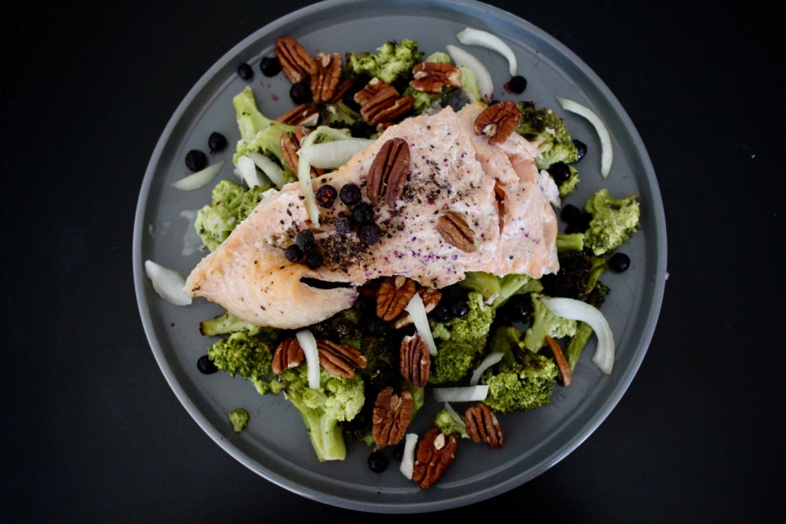 creativity - whole30 salmon on roasted broccoli with lemon vinaigrette