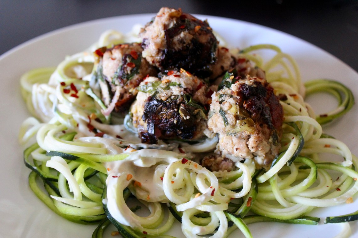 Learn by doing - Whole30 Spinach & Artichoke Meatballs with Lemon Cashew Alfredo