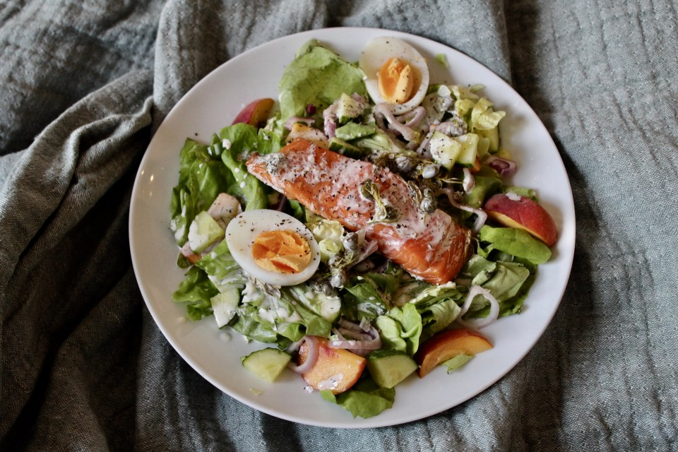 What do you want to be when you grow up - Whole30 Smoked Salmon and Peach Salad