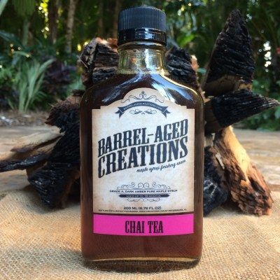 chai-tea-barrel-aged-maple-syrup-barrel-aged-creations-grade-a-maple-syrup-dark-amber-bourbon-maple-syrup-chai-tea-syrup-chai-tea-inspired-gourmet-food