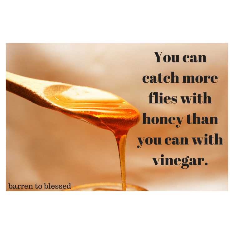 You can catch more flies with honey than you can with vinegar.