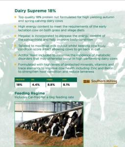 Info graphic on top quality 18% protein nut formulated for high yielding autumn and spring calving dairy cows