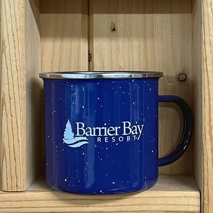 Barrier Bay Resort Blue Camping Mug
